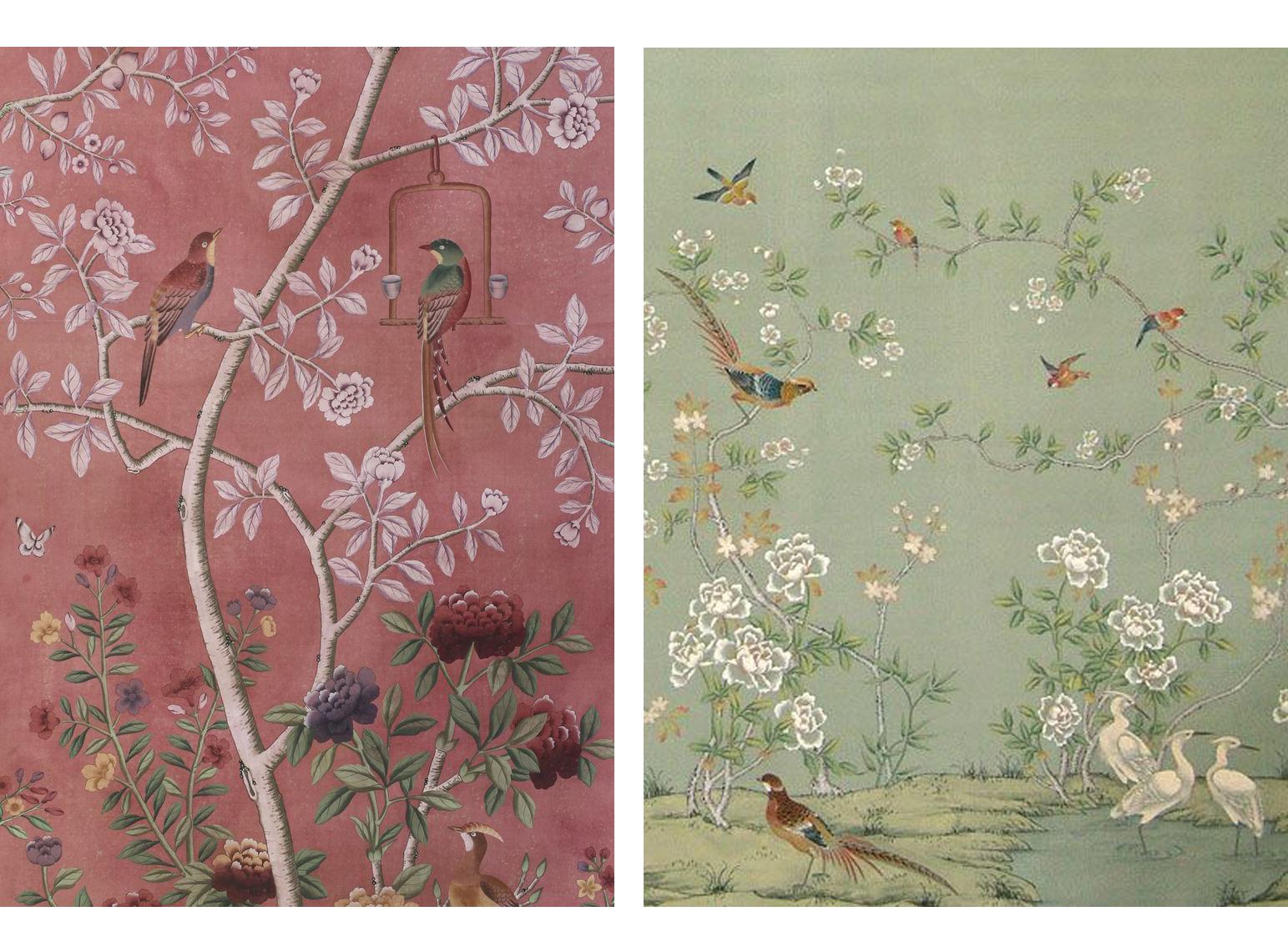 Papel pintado a mano chinoiserie nosy parker - Murales de pared pintados a mano ...